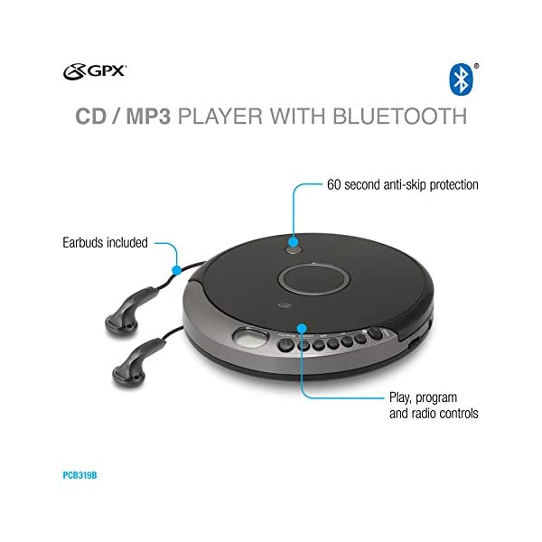 Portable Cd Player with Bluetooth, Includes Stereo Earbuds, Black 6