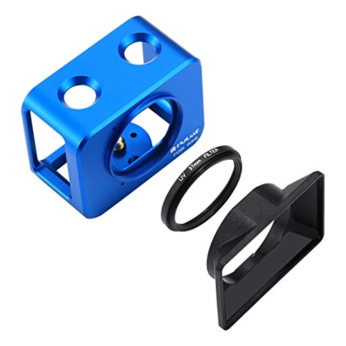 Actie camera kooi voor Sony RX0 Aluminium Beschermende kooi + 37mm UV Filter Lens + Lens Sunshade met schroeven en schroevendraaier (zwart) Action camera bescherming, Blauw