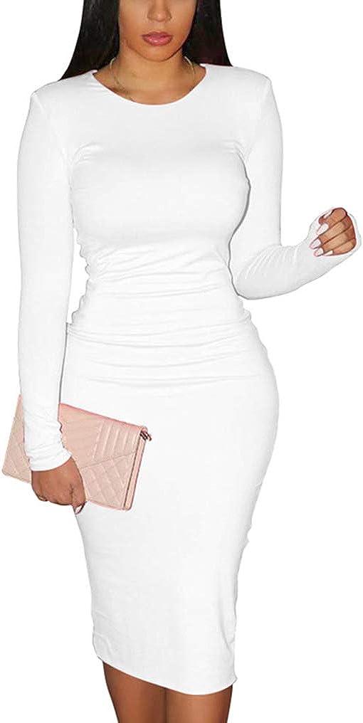 XXTAXN Women's Sexy Bodycon Long Sleeve Round Neck Work Office Maxi Pencil Dress