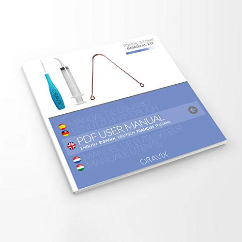 Tonsillensteinentferner-Set | Zur Entfernung und Verhinderung von Mandelsteinen | Gegen Mundgeruch | Lindert Halsschmerzen | Spritze, Tonsillenstein entferner mit LED-Licht und Zungenreiniger | ORALI - 7