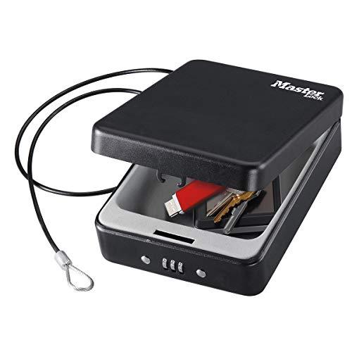 MASTER LOCK Kompakttresor [Kombination] [mit Kabel] P005CEURBLKHRO – Ideal für Scheckbücher, Schmuck, Ausweise, Smartphone und mehr