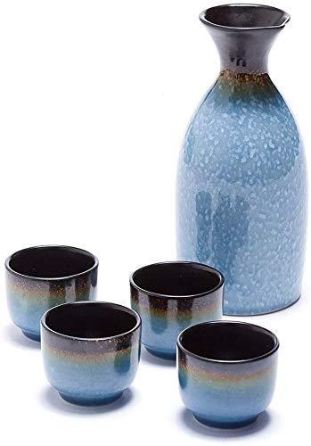 QIBIN Japanischer Sake-Set, 5 Stück Blau Sake Cup Set, Malerisches Textur Keramik Cups, for Kalt/Warm/Shochu/Tee for Familie und Freunde Für Geschenk Sake Cups