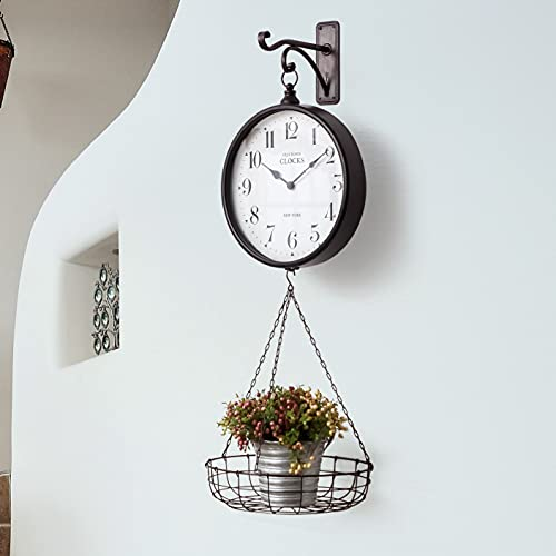 SOFFEE DESIGN 14in Vintage Garden Wall Clock with Basket, Metal Hanging Analog Clock Indoors / Outdoors for Yard / Corridor / Living Room, Detachable Basket for Mail Newspaper Flower Accessories