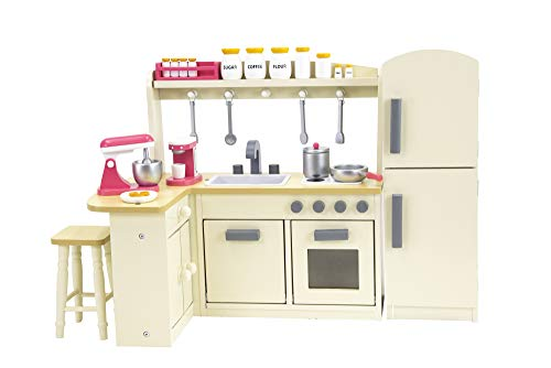 18 Inch Doll Furniture Kitchen Set w/ Refrigerator, Baking Set and Doll Kitchen Accessories - Play Kitchen Dollhouse Furniture - Birthday Gifts For Girls