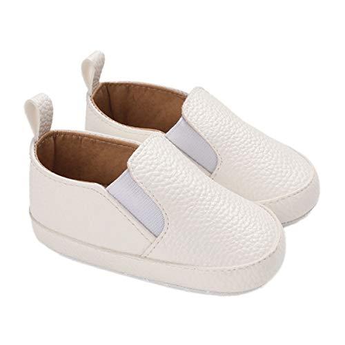 DEBAIJIA Bebé Primeros Pasos Zapatos 6-12M Niños Suave Suela Antideslizante Ligero Slip-on Zapatillas 18 EU Blanco (Tamaño Etiqueta-2)