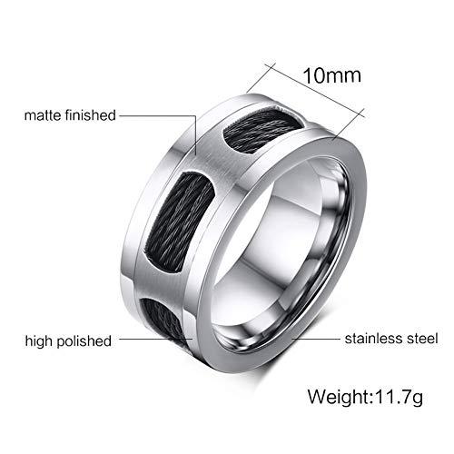 ERDING Fashion/goedkoop/geschenk/10mm roestvrij staal mannen kabel draad ingelegd ring partij mannelijke sieraden