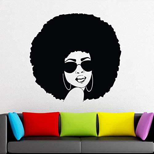 Relovsk muurstickers, motief: Afrikaanse vrouw, vinyl, afneembaar, raamdecoratie, wandtattoo, Afro Hair Art Salon, 43 cm x 42 cm
