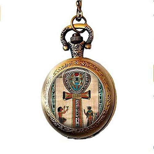Ancient Egyptian Ankh kolye Ankh Pocket Watch Collana,Regalo di amici,Vintage Art Photo Gioielli fatti a mano