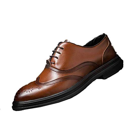 Mannen lederen schoenen Lage Top ademend Lace up Oxfords Puntschoen business casual Wedding Party Brogue Shoe jilisay