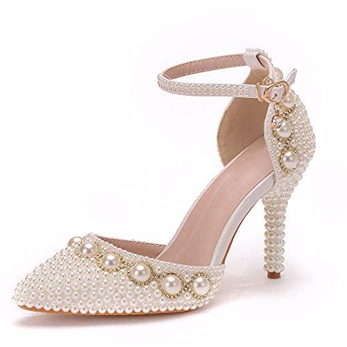 Zapatos De Novia Para Mujer,Sandalias De Tacón Alto Con Cuentas Perlas Blancas...