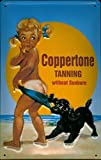 New Vintage Retro Metal Tin Sign Coppertone Tanning Without Suntan Funny Little Girl with Dogs Outdoor Street & Home Bar Club Kitchen Restaurant Wall Art Decor Plaque Signs 12X8Inch