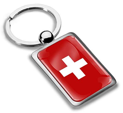 Biomar Labs® Schlüsselanhänger Metall Keyring mit Geschenkbox Autoschlüssel Geschenk Metall-Schlüsselanhänger Schlüsselbund Edelstahl Schweiz Flagge Switzerland, KK 240