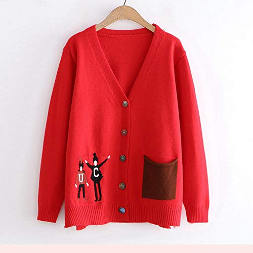 Pullover Sweatshirt Autumn Fashion Patchwork Strickpullover Weibliche Strickjacke Herbst New Japanese Sweet Soft Studenten Sweater Mantel Strickjacke OneSize Red