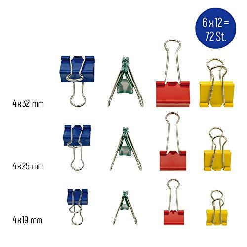 WESTCOTT Foldback-Klammern, Set mit 72 Stück, bunt, in 3 Größen (19, 25, 32 mm), in 4 Farben (rot, grün, gelb, blau), 6 Boxen à 12 Stück, E-10721 00