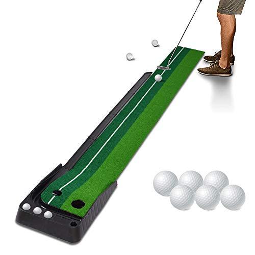 Hivexagon Innen Außen Golfball Set Auto Rückkehr Putting-Matte, professionelle tragbare Übungs Mini Golf Trainer Putting Green mit Rückkehr und 6 Bälle SP129