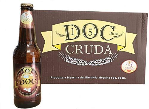 Birra dello Stretto DOC 15 Cruda - Cartone da 24 Bottiglie da 33 Cl - Birra delicata prodotta con un malto e tre luppoli