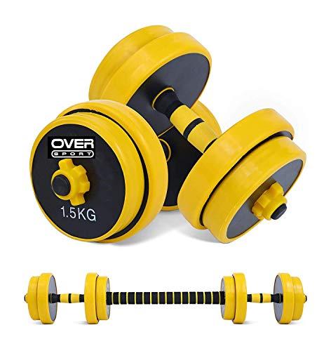 OVER SPORT Mancuernas Ajustables 20 kg 2 en 1 con Barra Ajustable para Gimnasio o Hacer Deporte en Casa - Pesas con Discos Regulables para musculación de 20kg.