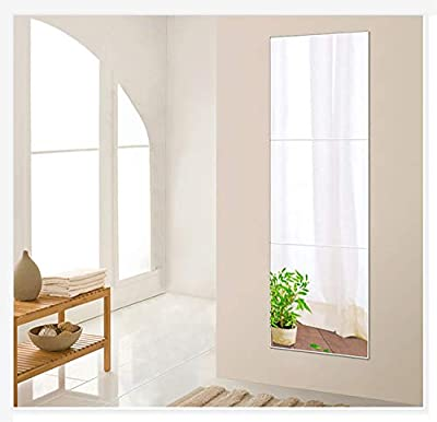 "Beauty4U Tall Gym Mirror Tiles, 16"" x 3 Pieces Full-Length Wall Mirror Set Frameless HD Image Vanity Mirror for Living Room Bedroom Home Décor"