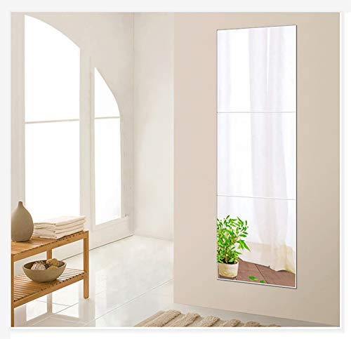 Beauty4U 3-Piece 16 Inch Wall Mirror Full Body Mirror Wall-Mounted Frameless Mirror Hanging Door Mirror Home Workout Gym Mirror for Wall Glass Mirror Tile Self Adhesive