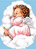 Angel Baby Stitch Diamond Painting - MaiYiYi 5D Full Round Diamond Painting Baby Crystal Diamond Painting Angel Wings Diamond Painting Cross Stitch Kit for Kids Adult Home Wall Art Decor (30X40 CM)
