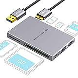 Rozeda SD Lettore di schede 5 in 1 USB 3.0, Lega di Alluminio con Cavo USB per SD, Micro SD, SDXC, SDHC, Micro SDHC, Micro SDXC, Compatibile Windows 10, 8.1, 8, 7, Vista, XP, Mac OS