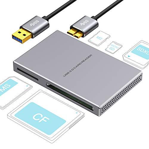SD Lettore di schede 5 in 1 USB 3.0, Lega di alluminio con cavo USB per SD, Micro SD, SDXC, SDHC, Micro SDHC, Micro SDXC, compatibile Windows 10, 8.1, 8, 7, Vista, XP, Mac OS