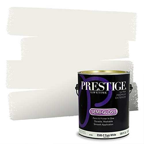 Prestige Paints E500-P-SW7005 Exterior Paint and Primer in One, 1-Gallon, Semi-Gloss, Comparable Match of Sherwin Williams Pure, 1 Gallon, SW16-Pure White