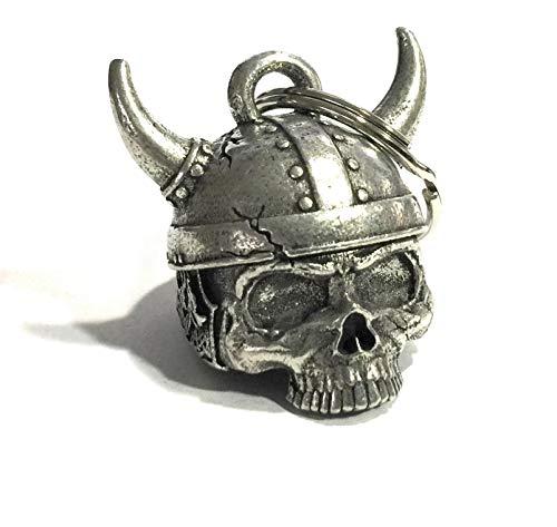 Viking Helmet Skull Motorcycle Biker Bell Accessory or Key Chain for Luck