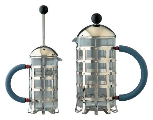 Alessi Pressfilter 8 Tassen aus Edelstahl 18/10 glänzend poliert und hitzebeständigem Glas. Griff und Knopf aus PA, hellblau