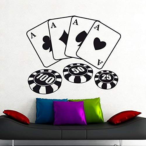 Baobaoshop Pegatinas de Casino Calcomanías de Juego Gambling Poker Poster Vinyl Wall Decals Home Decor Mural Casino St 48 * 58cm Custom