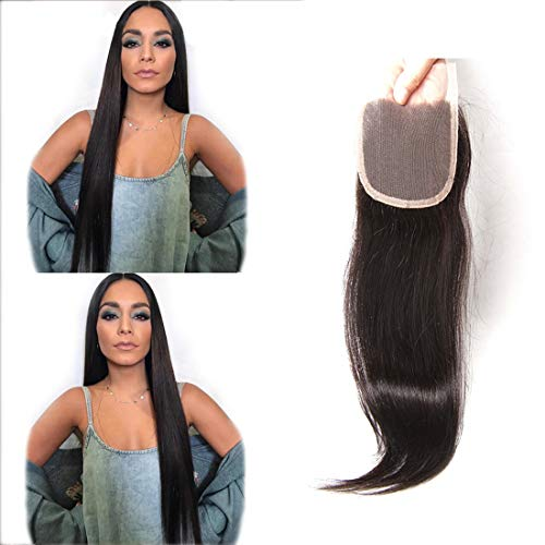 Hiyorlik Top Closure Frontal Lisse Cheveux Bresilienne 4x4 Swiss Lace Silky Hair Natural Black Longue 100% Real Human Hair pas Cher 18 inch Closure