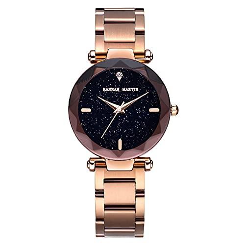 YDHNB Impermeable Relojes Reloj de Mujer Acero Inoxidable Analogico Cuarzo Reloj Regalo Negocio Casual Reloj de Cuarzo para Mujeres Mujer