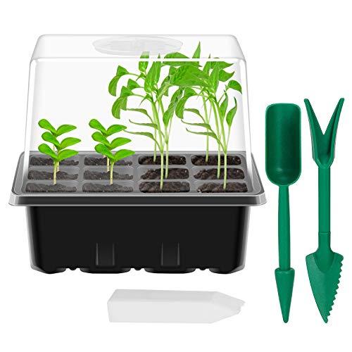 ANSUG Lot de 5 bac à semis, Mini Serre pour semis Boîte de Propagation de Coupe de Plantes Plateaux à graines avec Couvercle réglable pour Le démarrage des semences (12 cellules par Plateau)