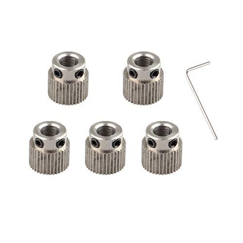 5 Stück 3D-Drucker Extruder Zahnrad Zubehör Edelstahl Antriebsrad für MK7 MK8 Extruder 36 Zähne Bohrung 5 mm Licht und 1 Stück 1,5 mm Schlüssel für 3D-Drucker