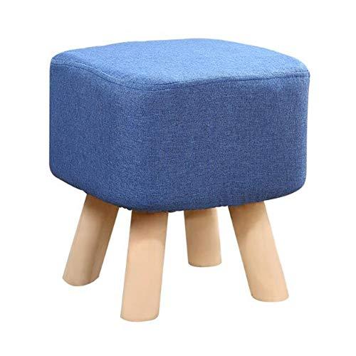 Kruk, werkkruk, kruk, opstapje, klein, massief hout, eenkleurig, stof, sofa, schoenen, barbershop (kleur: lichtblauw, maat: 35 cm) 35CM Donkerblauw