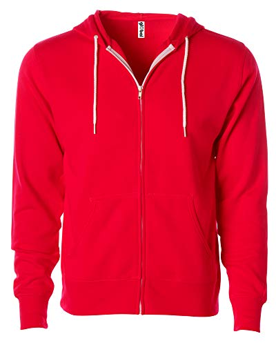 Slim Fit Lightweight Zip Up Hoodie for Men and Women XL Red