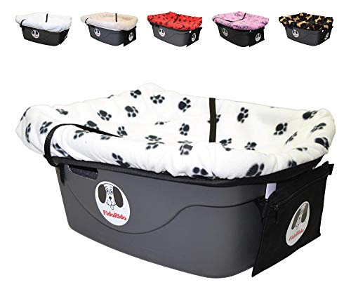 FidoRido Dog Car Seat - Pet Booster Car Seat with White with Black Paw Prints Fleece Cover, Medium Harness and Straps - Durable Plastic Base, Comfortable Cushions, Easy to Install and Clean