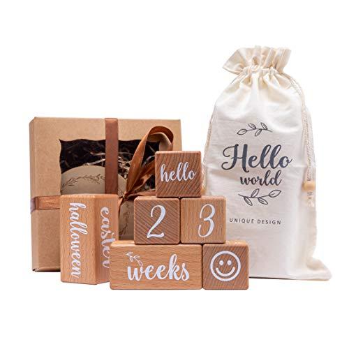 Mamimami Home 6 pezzi blocchi gravidanza milestone, blocchi di legno pietre miliari bambino con borsa di stoffa, idea regalo per fotografia neonato per nascita, battesimo, gravidanza o baby shower