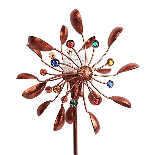 Solar Windrad,windrad Garten Skulptur Mit LED Lichter,Metall Wasserdicht Windmühle Garten Ornamente,gartenstecker Windmühle Kinderspielzeug Rasen Hof Garten Ornamente Für Feiertagsdekorationen