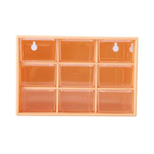 Boaby Cajón de Escritorio Plástico portátil 9 celosía Mini gabinetes Cajón Joyas Caja de Almacenamiento de cosméticos(Amarillo)
