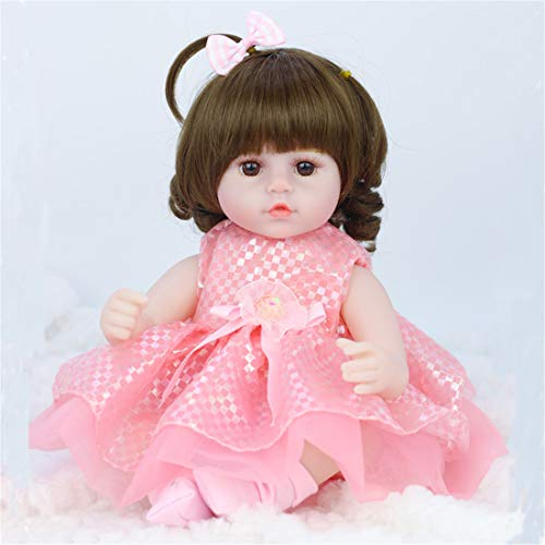 PPMM 16 Inches/42 cm Soft Lifelike Reborn Baby Dolls 1 Outfits Silicone Vinyl Weighted Cotton Body Gift Set Best Birthday Set for Girls Age 3+