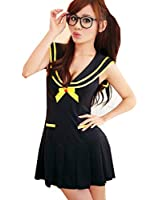 Lingeriecats White Cute Shirt cottish School Student Sweetheart Cosplay Costume (Pure Black)