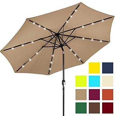 Best Choice Products 10ft Solar LED Lighted Patio Umbrella w/Tilt Adjustment - Tan