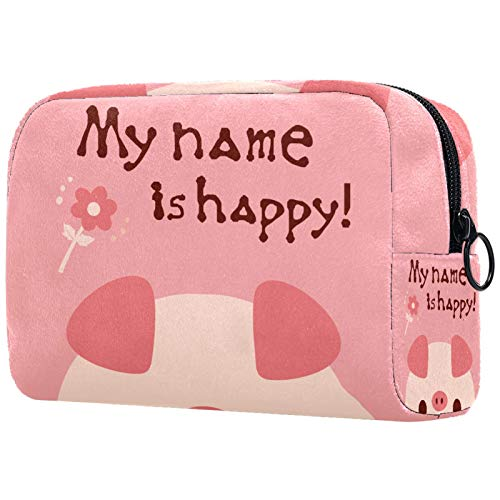 AITAI Bolsa de maquillaje grande organizador de cosméticos de viaje Funny Pig My Name Is Happy