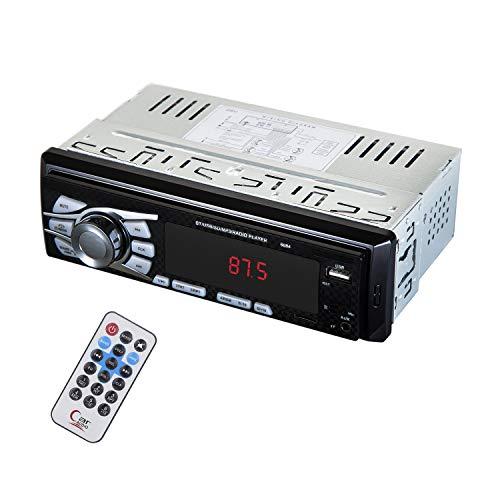 12-24V Radio Coche,Autoradio Bluetooth Stereo 1DIN, 45W X 4 Soporta FM / AUX / MP3 / WMA / WAV / USB / TF / Control Remoto