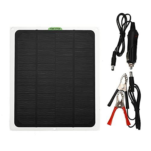 CHJAA Panel Solar de 20W DC 12V / USB 5V, Panel Solar monocristalino USB Impermeable, Cargador al Aire Libre, módulo de células de células solares para Camping Emergency