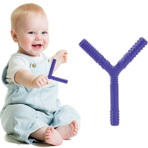 歯がため 指歯がため Y型歯がため 0歳 新生児 天然ゴム 収納箱つき 人気 欧米で人気的 ピンク 可愛い 男の子 女の子 ベビー 赤ちゃん 出産祝い 誕生日 プレゼント (パープル)