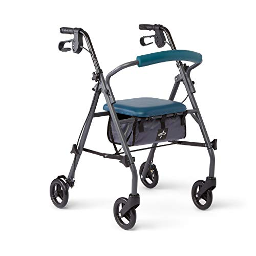 Medline Rollator Walker with Seat and Wheels, Folding Walker for Seniors with Microban Antimicrobial Protection, Durable Steel Frame Supports up to 350 lbs, 6 inch wheels, Teal