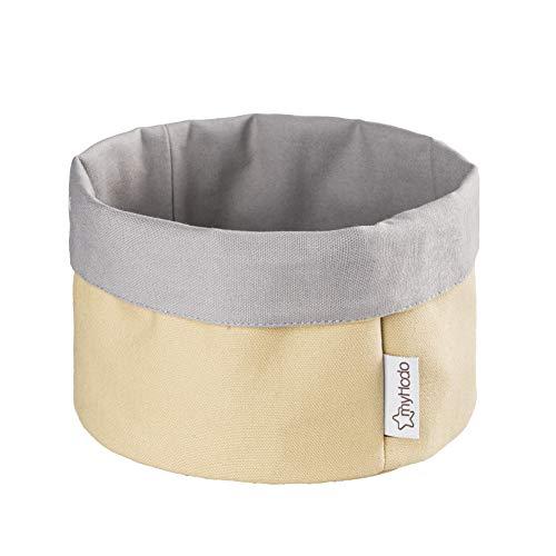 myHodo - Panera de tela de 20 cm, para guardar pan y panecillos, cesta de almacenamiento, cesta para pañales, cesta para la cocina y la mesa de desayuno, diseño 2 en 1, 100% algodón (amarillo)