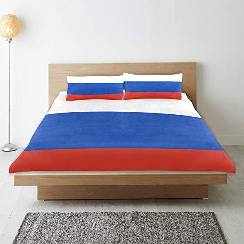 DEZIRO - Juego de funda de edredón para adolescentes, diseño de la bandera de Rusia de algodón natural puro de tamaño individual con 2 fundas de almohada para decoración de dormitorio de niños, juego de cama de 3 piezas